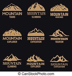 hegy, cégtábla., állhatatos, háttér., mód, ikonok, sötét, címke, arany-, embléma, alapismeretek, jel, tervezés, elszigetelt