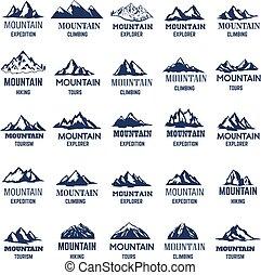 hegy, cégtábla., elem, icons., címke, jel, tervezés, állhatatos, nagy