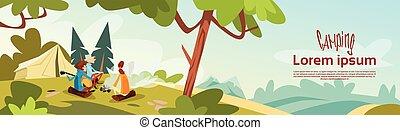 hegy, csoport, természetjáró, kempingezés, ül, elbocsát, gyorsaság, erdő, sátor