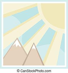 hegy, derékszögben, színhely