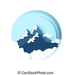 hegy, dolgozat, clouds., style., karika, frame., peaks., táj, hó, ég, elvág