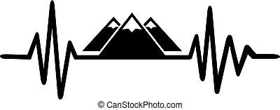hegy, egyenes, fekete, fehér, szívdobbanás