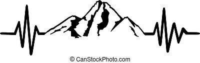 hegy, egyenes, szívdobbanás, kő