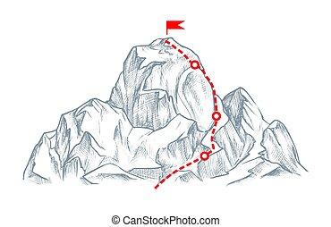 hegy, elszigetelt, fehér, útvonal, tető, nehéz, skicc
