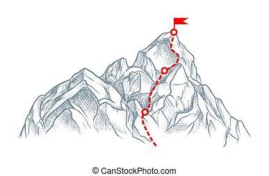 hegy, elszigetelt, white tető, rout, skicc