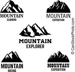 hegy, embléma, tervezés, jel, cégtábla., címke, ikonok, elszigetelt, állhatatos, alapismeretek, fény, háttér.