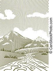 hegy, fametszet, folyik