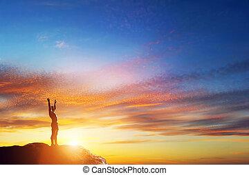 hegy, feláll, napnyugta, csúcs, kézbesít, ember, boldog