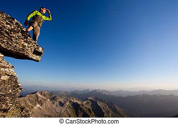 hegy, felügyelő, young külső, lőtávolság, forward., ember