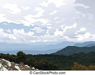 hegy, felhős, kopasz, crimea., külső, sky., vektor, kilátás, gyakorlatias, valley., erdő, parkosít., horizontal., fekszik, ábra, más, recreation.