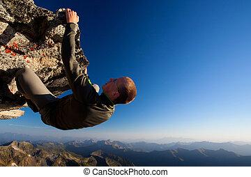 hegy, fiatal, magas, lőtávolság, felül, ringat mászik, ember