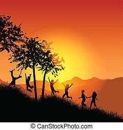 hegy, futás, gyerekek, füves, feláll