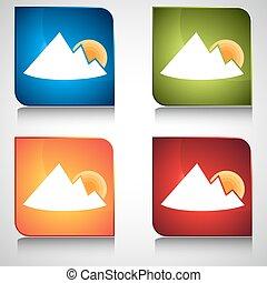hegy, gombol, napkelte