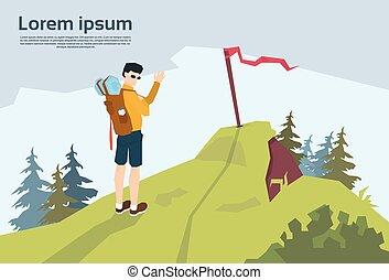 hegy, hátizsák, kiránduló, hegy, háttér, utazó