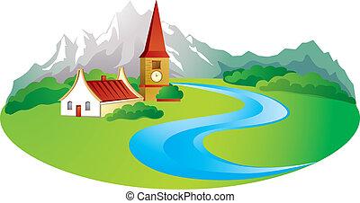 hegy, háttér, vidéki