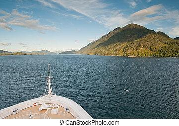 hegy, hajó, felé, vitorlázás, cirkálás