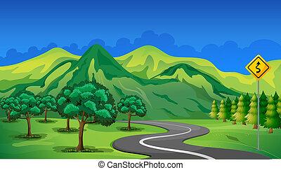 hegy, haladó, ív, út