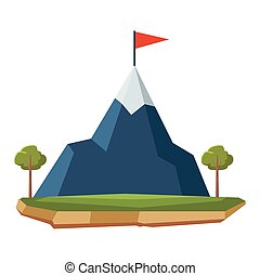 hegy, havas, karikatúra, táj, ikon
