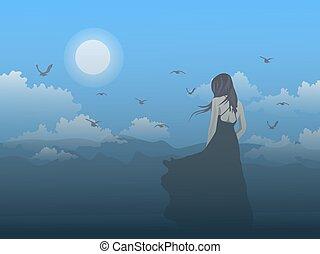 hegy, hold, látszó, blue hegy, ég, alj, fekete, álló, nő, háttér.