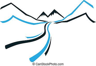 hegy, ikon, völgy, út, jel