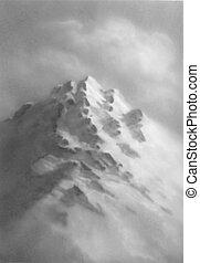 hegy, illustration., set., kéz, vektor, húzott, sketch.