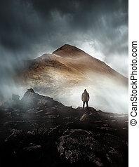 hegy, ködös, természetjárás, ember