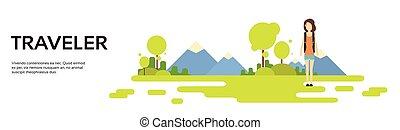 hegy, külső, természetjárás, hely, felett, nő, háttér, utazó, másol, transzparens