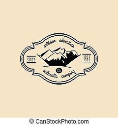hegy, külső, természetjáró, parkosít., tábor, címke, adventures., vektor, csípőre szabott, retro, jelvény, kéz, húzott, aláír, logo.