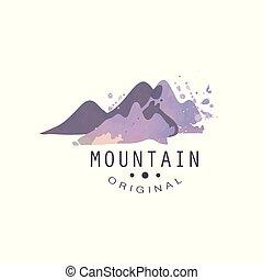 hegy, külső, vadon, természetjárás, kalandok, ábra, embléma, vektor, idegenforgalom, jelvény, eredeti, jel, retro