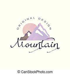 hegy, külső, vadon, természetjárás, kalandok, ábra, embléma, vektor, idegenforgalom, jelvény, jel, retro