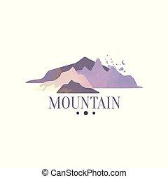 hegy, külső, vadon, természetjárás, kalandok, ábra, embléma, vektor, retro, jel, sablon, jelvény, idegenforgalom