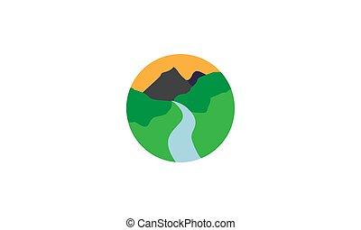 hegy, karika, jel, folyó, grafikus, ikon, vektor, parkosít tervezés, jelkép, ábra, erdő