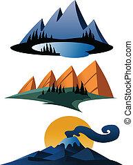 hegy, karikatúra, ikonok