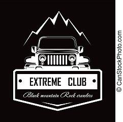 hegy, klub, logotype, promo, crawlers, fekete, kő, extrém