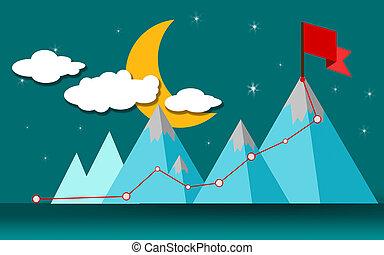 hegy, lobogó, csúcs, irány, siker