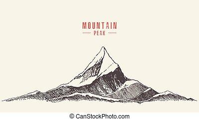 hegy, mód, ábra, kéz, vektor, húzott, jel