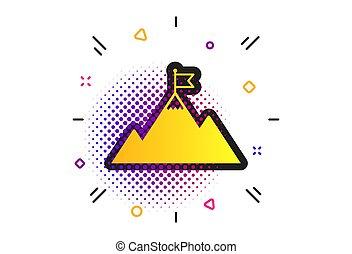 hegy, motiváció, cégtábla., lobogó, vektor, vezetés, icon.