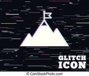 hegy, motiváció, cégtábla., lobogó, vezetés, icon.