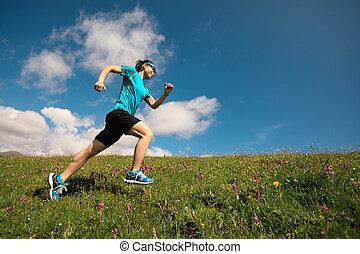 hegy, nő, futó, feláll, futás, füves táj