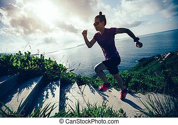 hegy, nő, futó, tengerpart, feláll, futás, lépcsősor