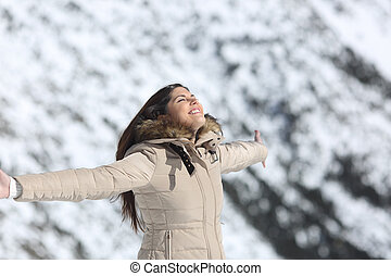 hegy, nő, tél, levegő, lélegzés, friss
