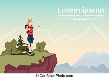 hegy, nő, természet, hátizsák, kiránduló, hegy, háttér, utazó, áll