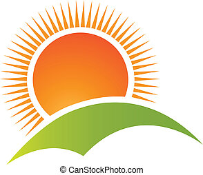 hegy, nap, jel, vektor, hegy