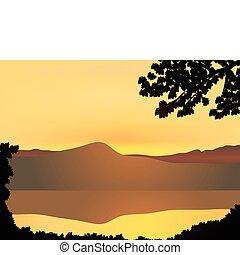 hegy, napnyugta
