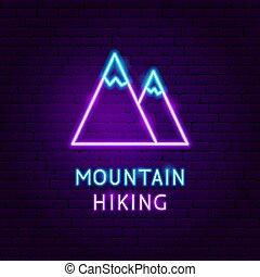 hegy, neon, természetjárás, címke