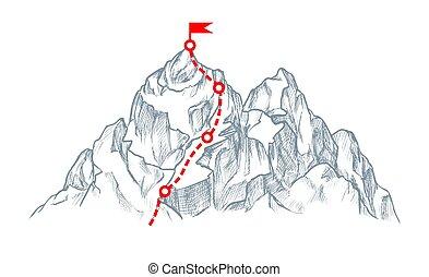 hegy, piros, mászó, lobogó, rout, skicc