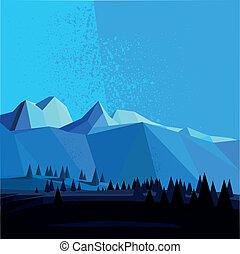 hegy, poly, vektor, alacsony, táj