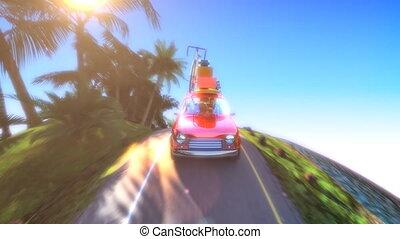 hegy, road., autó, elvont, tető, karikatúra, élénkség, utazó, állvány, 4k