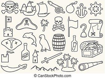 hegy, rum, háromszög, játékkockák, kalap, híg, (sabre, egyenes, kalózkodik, kis kémtávcső, palms), puskacső, térkép, tarka selyemkendő, begörbít, hajó, állhatatos, öreg, kincs, löveg, ikonok, vasmacska, kormánylapát, sziget, koponya, láda
