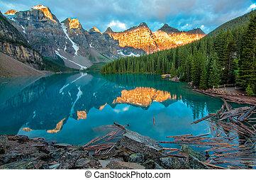 hegy, sárga, moraine tó, táj